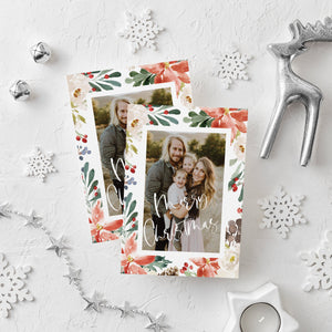 Christmas Card Photo Template, Holiday Card Template Photo, Editable Instant Download, Happy Holidays Card CC1