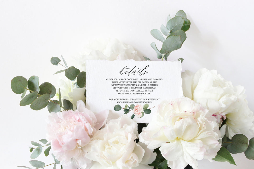 Wedding Details Card Template Instant Download Information Card Wedding Info Card Greenery Wedding Details Template  - Scarlett