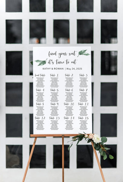 Greenery Wedding Seating Chart Template Printable Seating Sign Editable Text INSTANT DOWNLOAD - Jasmine