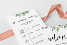 Load image into Gallery viewer, Printable Wedding Itinerary Template Card Timeline Welcome 100% editable Templett Greenery - Jasmine