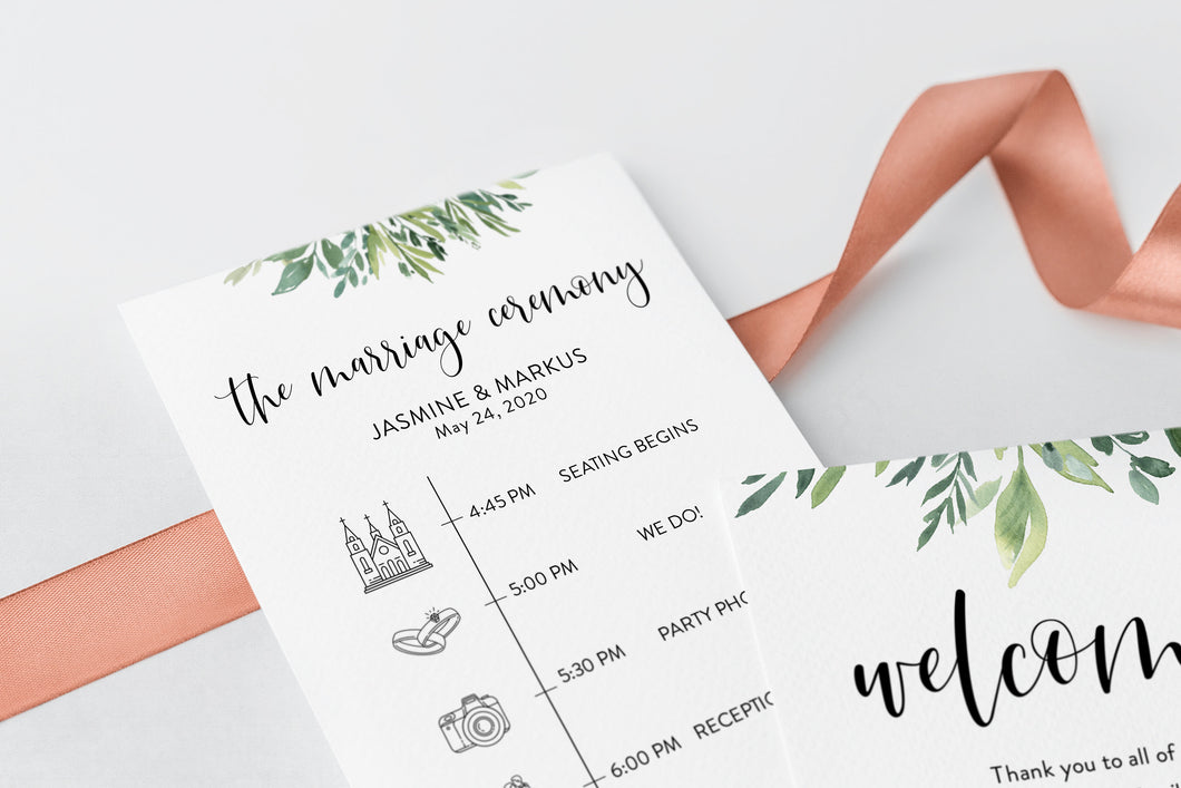 Printable Wedding Itinerary Template Card Timeline Welcome 100% editable Templett Greenery - Jasmine
