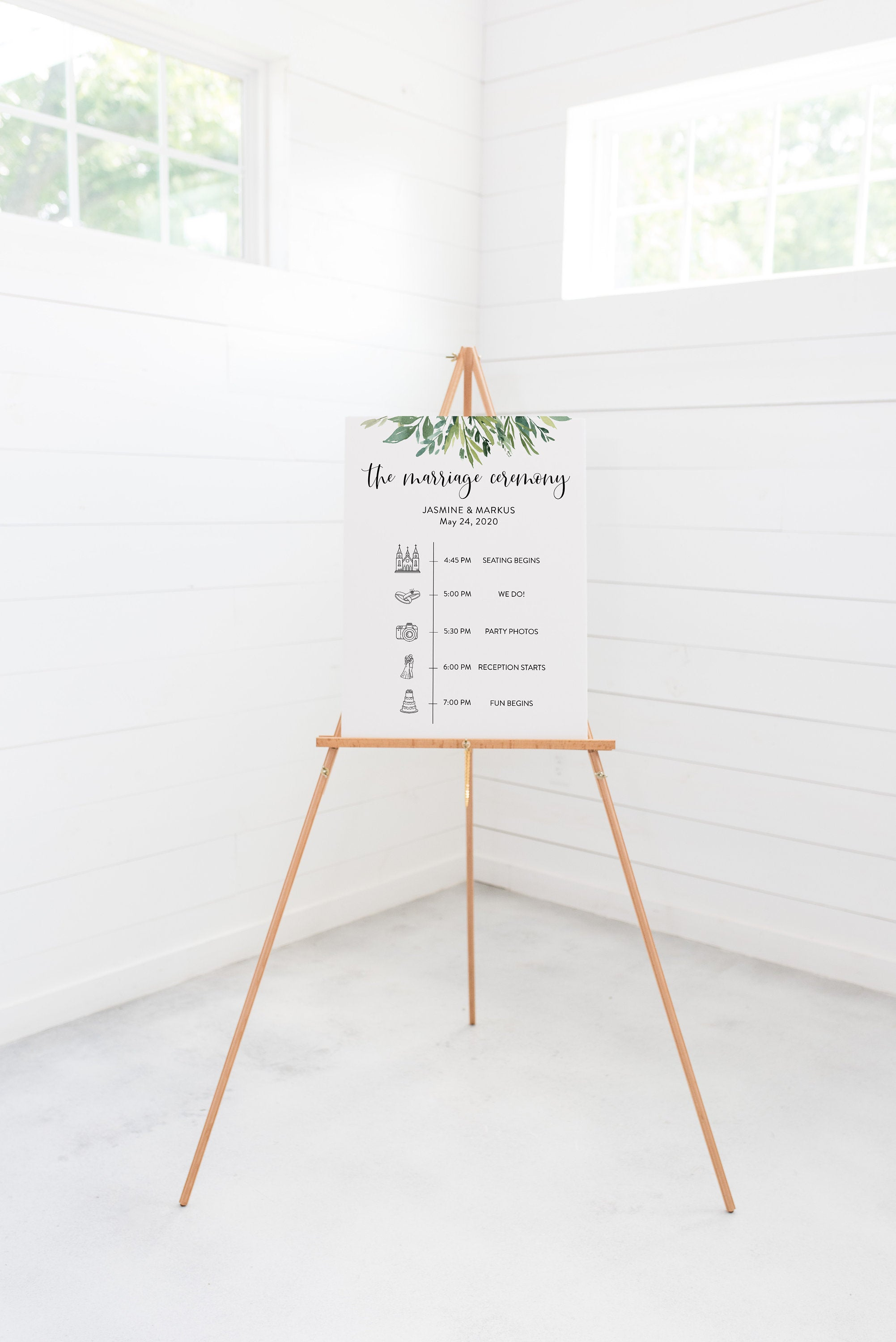 Order of Events Sign Template Wedding Itinerary Sign Timeline Sign Printable Greenery  - Jasmine