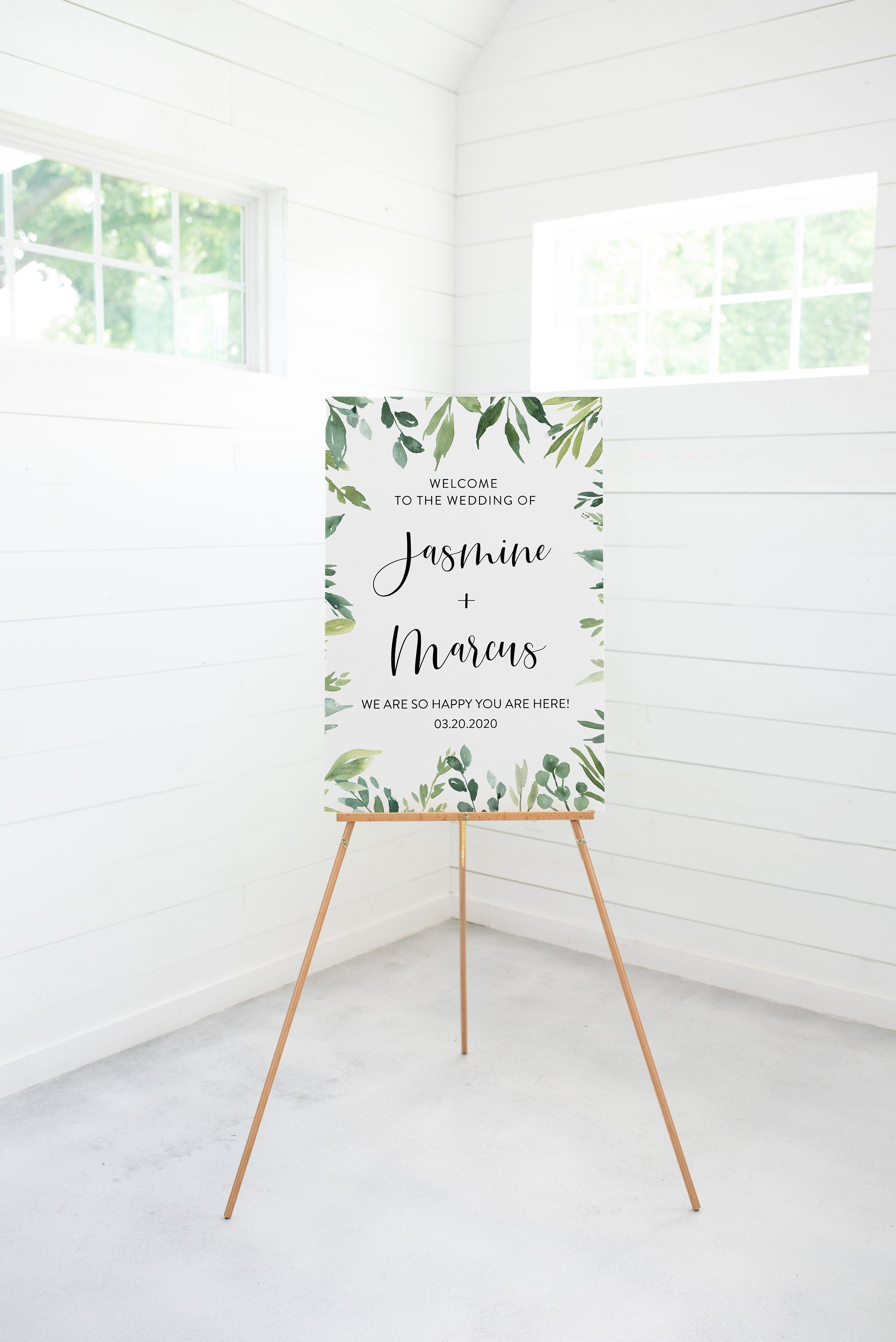 Wedding Printable Welcome Sign Editable Template Instant Download Greenery - Jasmine