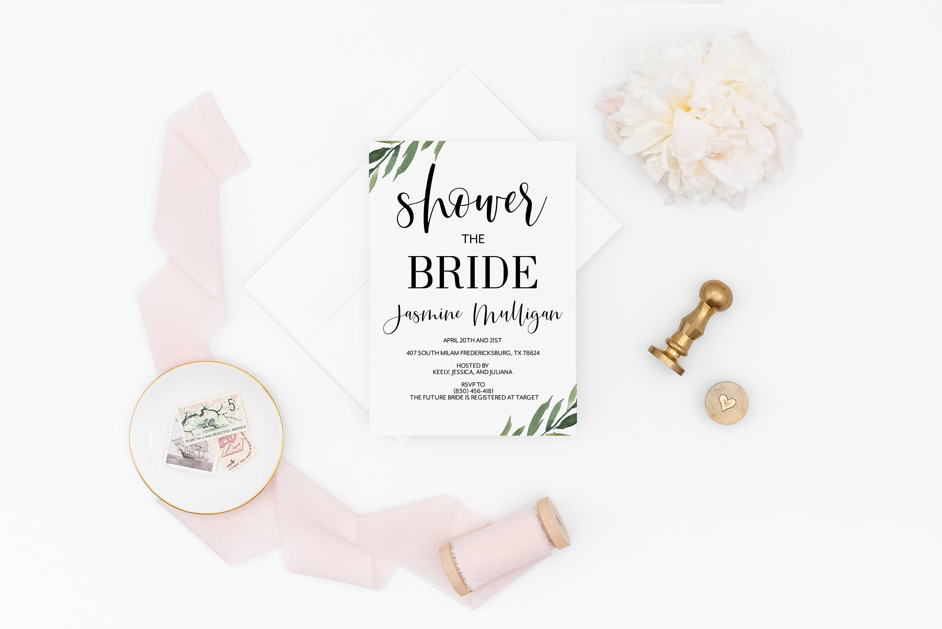 Greenery Bridal Shower Invite Templett Invitation Template Printable Instant Download - Jasmine