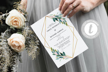 Load image into Gallery viewer, Geometric Wedding Invitation Template Instant Download Templett Printable Wedding Editable Greenery Gold - Tara