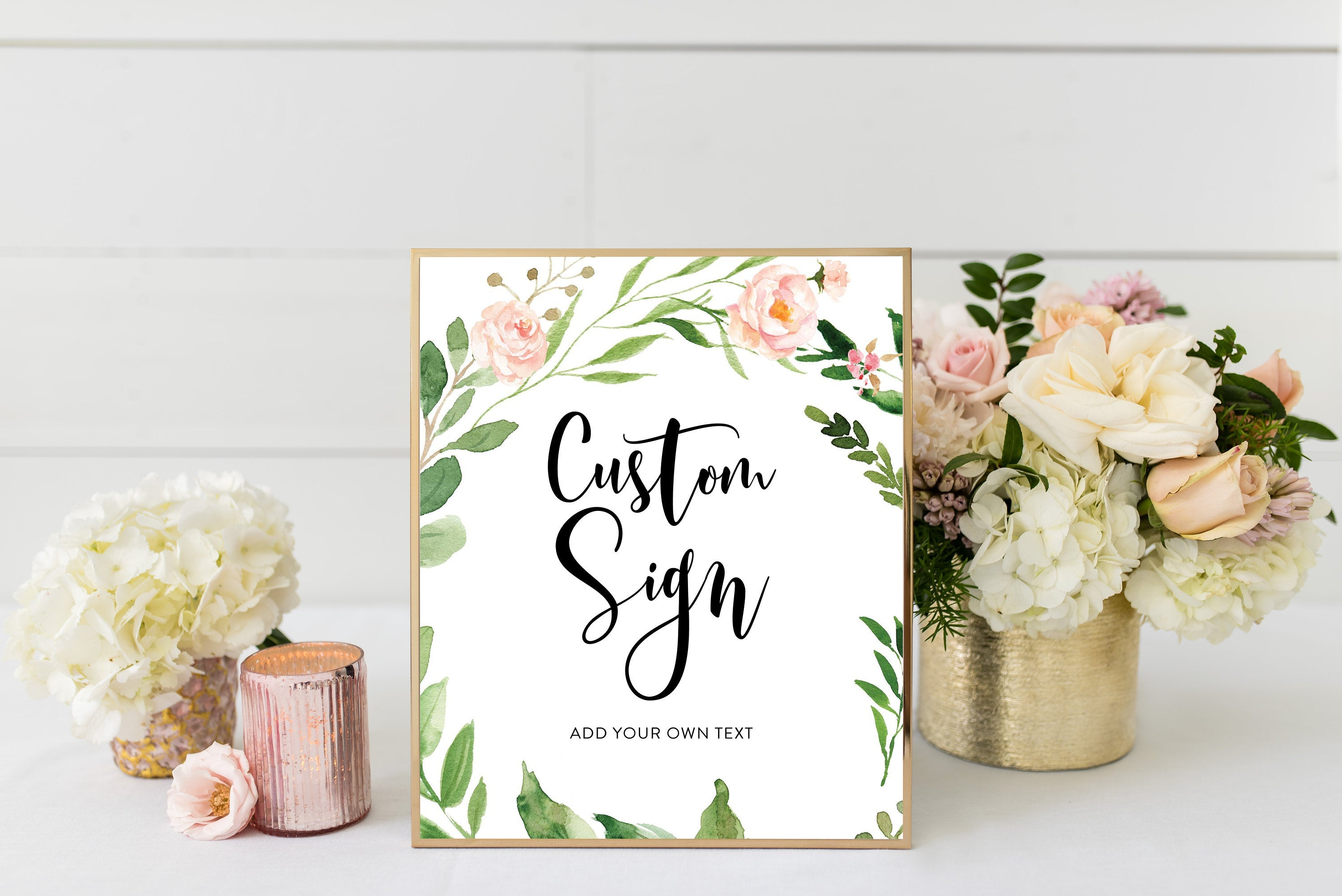 Blush Floral Custom Sign Printable Template Peach Floral Baby Shower Welcome Sign Bridal Shower Decoration  #WB2