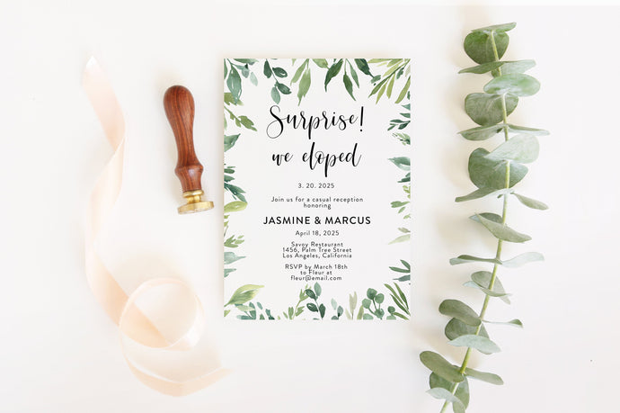 Elopement Wedding Invitation Template, Editable Wedding Invite, Printable, Greenery, Wedding Announcement, We Tied the Knot  - Jasmine