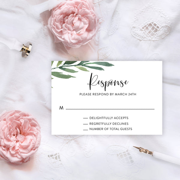RSVP Card Template, Wedding RSVP, Response Card, RSVP cards Watercolor Wedding Printable Wedding Response Greenery - Jasmine