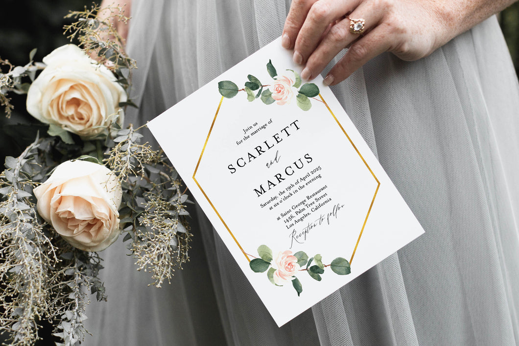 Greenery Floral Wedding Invitation Template Instant Download Templett Printable Wedding Editable - Scarlett