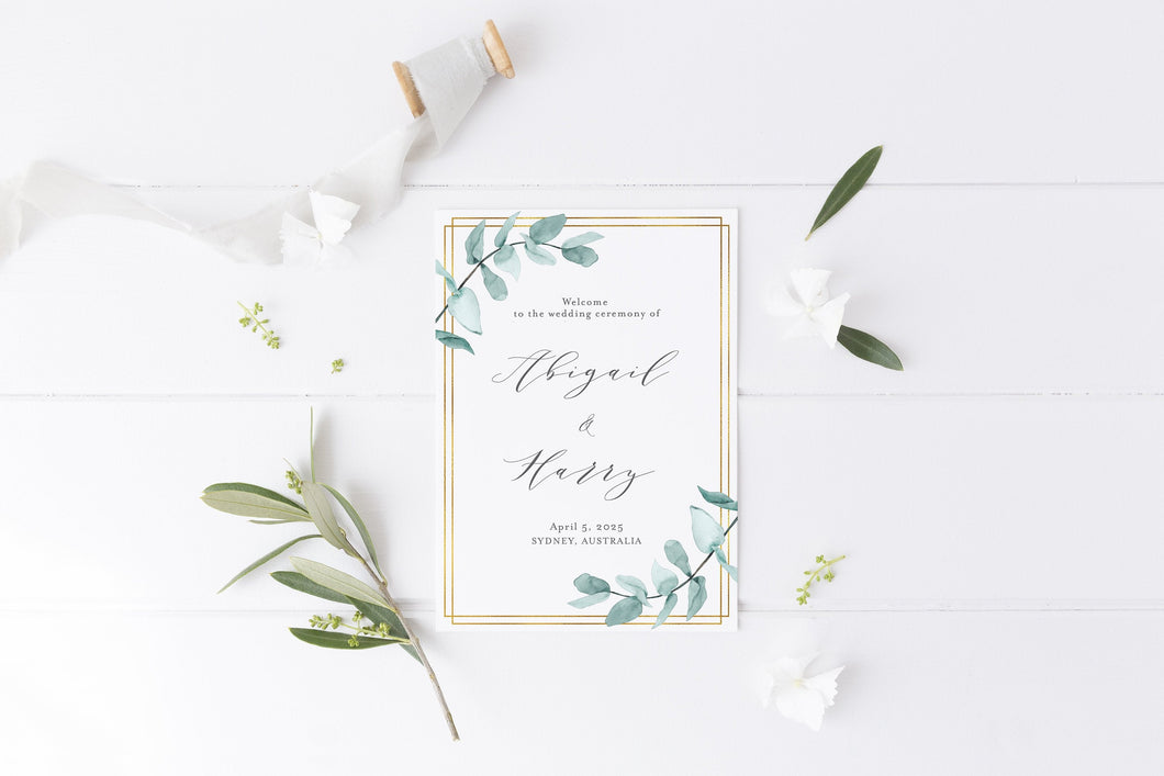 Folded Wedding Ceremony Card, Greenery, Geometric, Wedding Details Card, Gold Wedding, Rustic Wedding, Template, Nature Wedding - Abi