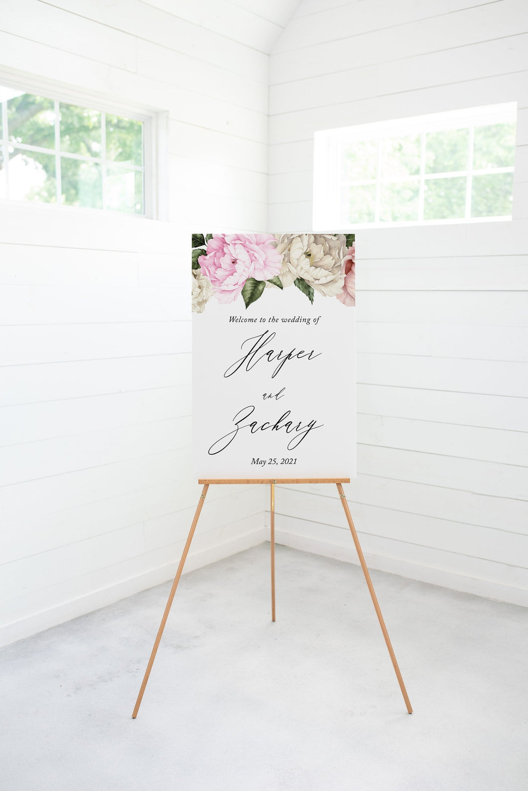 Floral Wedding Printable Welcome Sign Editable Template Instant Download - Harper