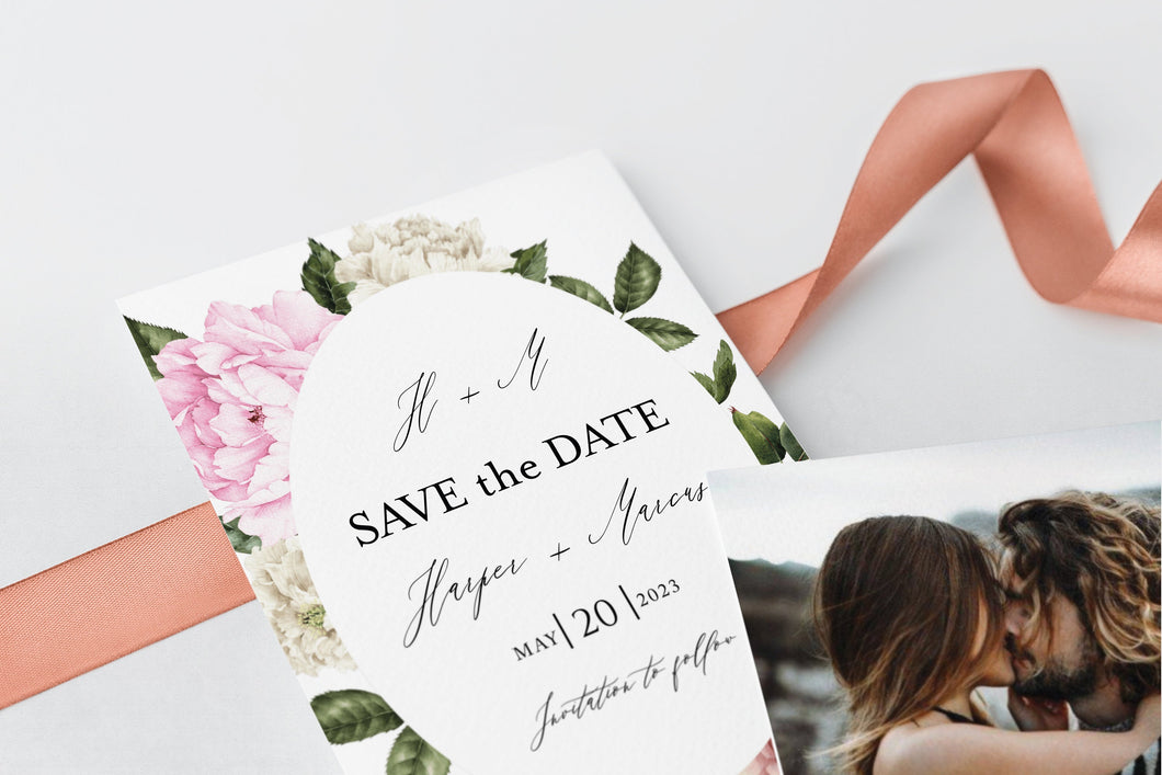 Printable Floral Wedding Save-the-Date Template with photo Engagement Invite 100% editable   - Harper