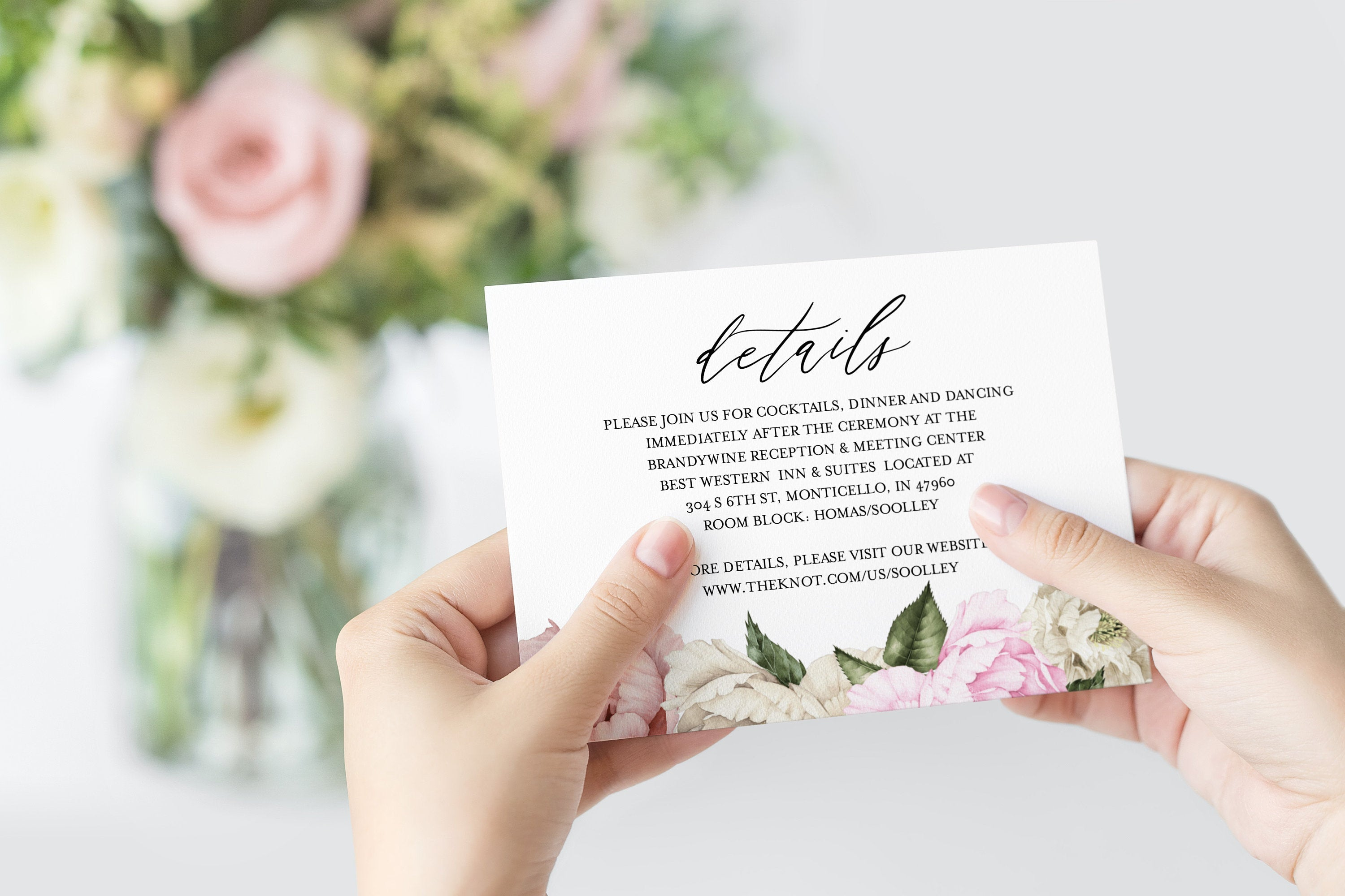Wedding Details Card Template Instant Download Information Card Wedding Info Card Floral Wedding Details Template  - Harper