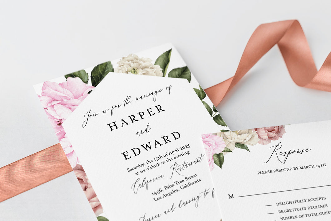 Printable Floral Wedding Invitation Set Editable Template DIY Instant Download Invites Invitation Suite 100% Editable - Harper