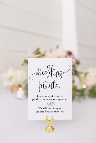 Wedding pinata sign guest book sign Pinata Wedding guest book sign printable Greenery wedding signs - Melissa