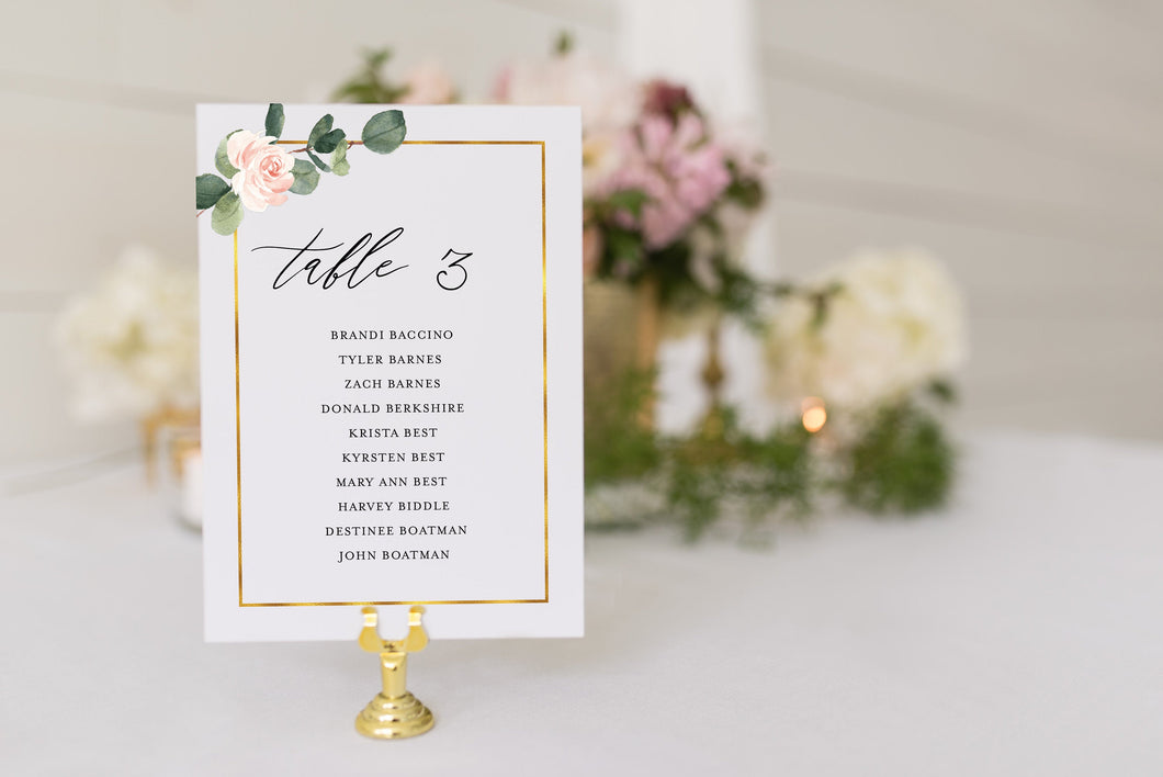 Wedding Seating Chart Template Printable Floral Greenery Seating Sign Seating Cards Editable Text INSTANT DOWNLOAD - Scarlett