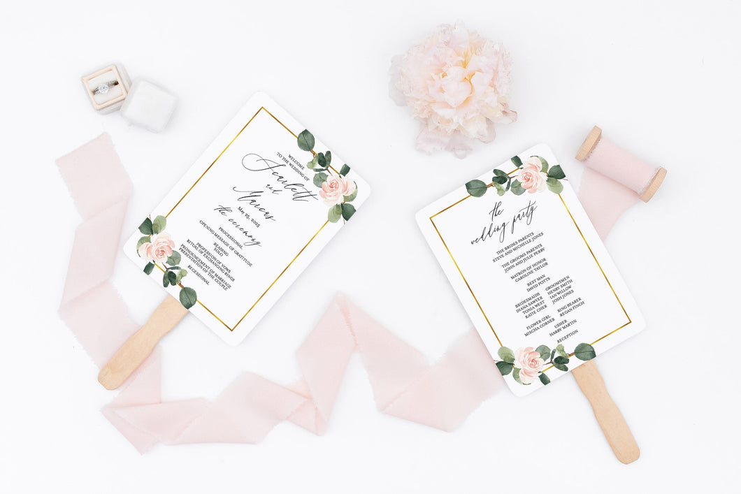 Floral Wedding Program Fan Template Printable Ceremony Programs Greenery Editable Template Instant download - Scarlett