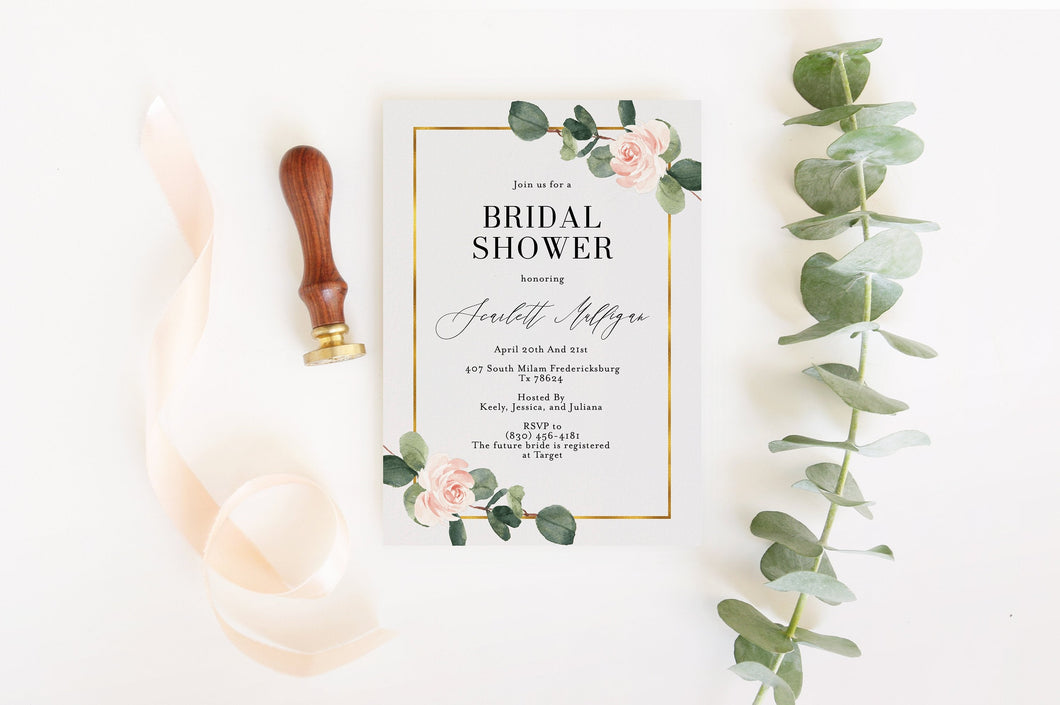 Bridal Shower Invite Templett Invitation Template Printable Instant Download Greenery - Scarlett