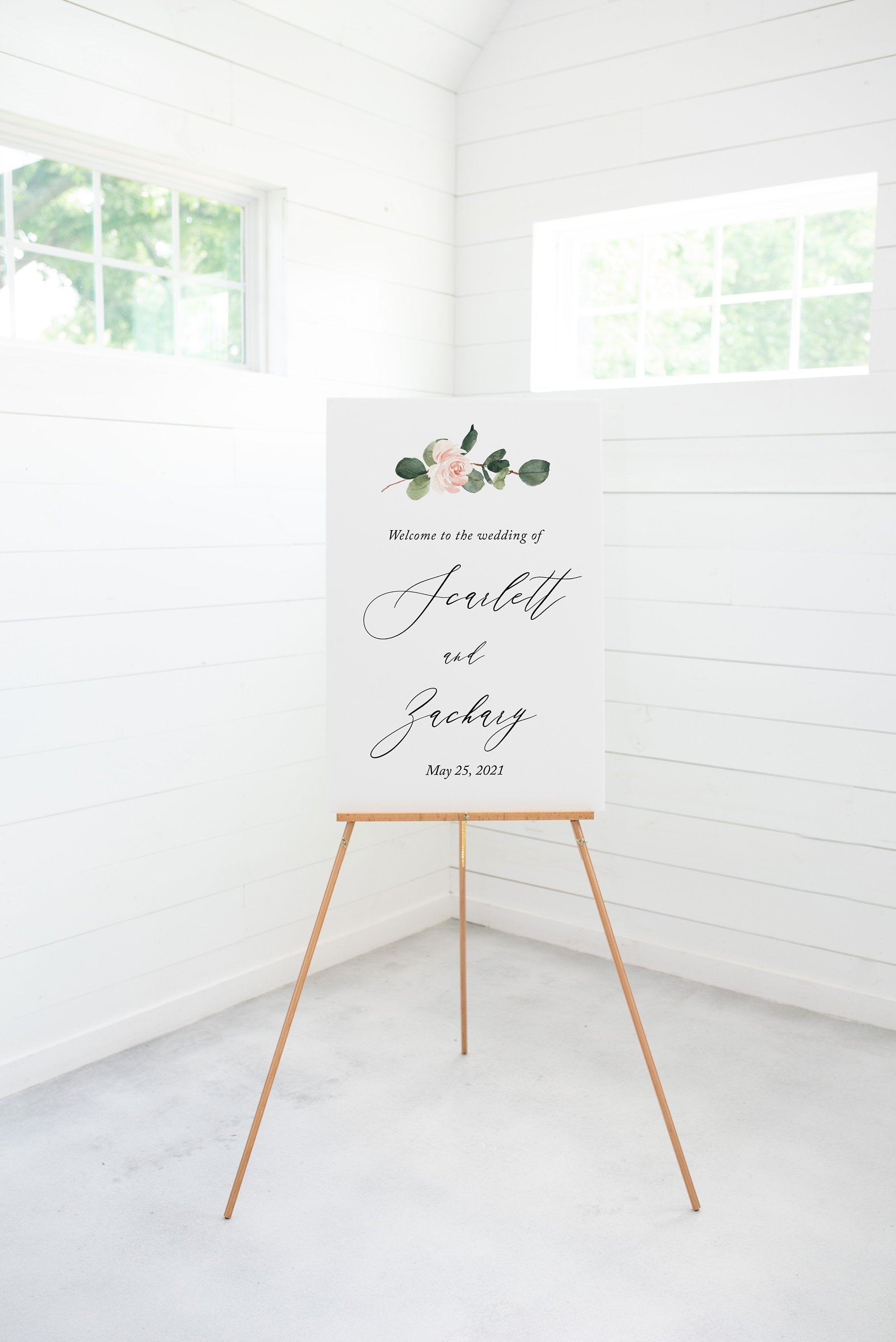 Wedding Printable Welcome Sign Editable Template Instant Download Greenery - Scarlett