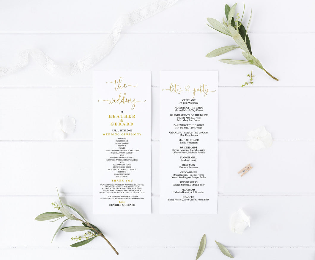 Gold Wedding Program Template Printable Ceremony Programs Editable Template Instant download - Heather