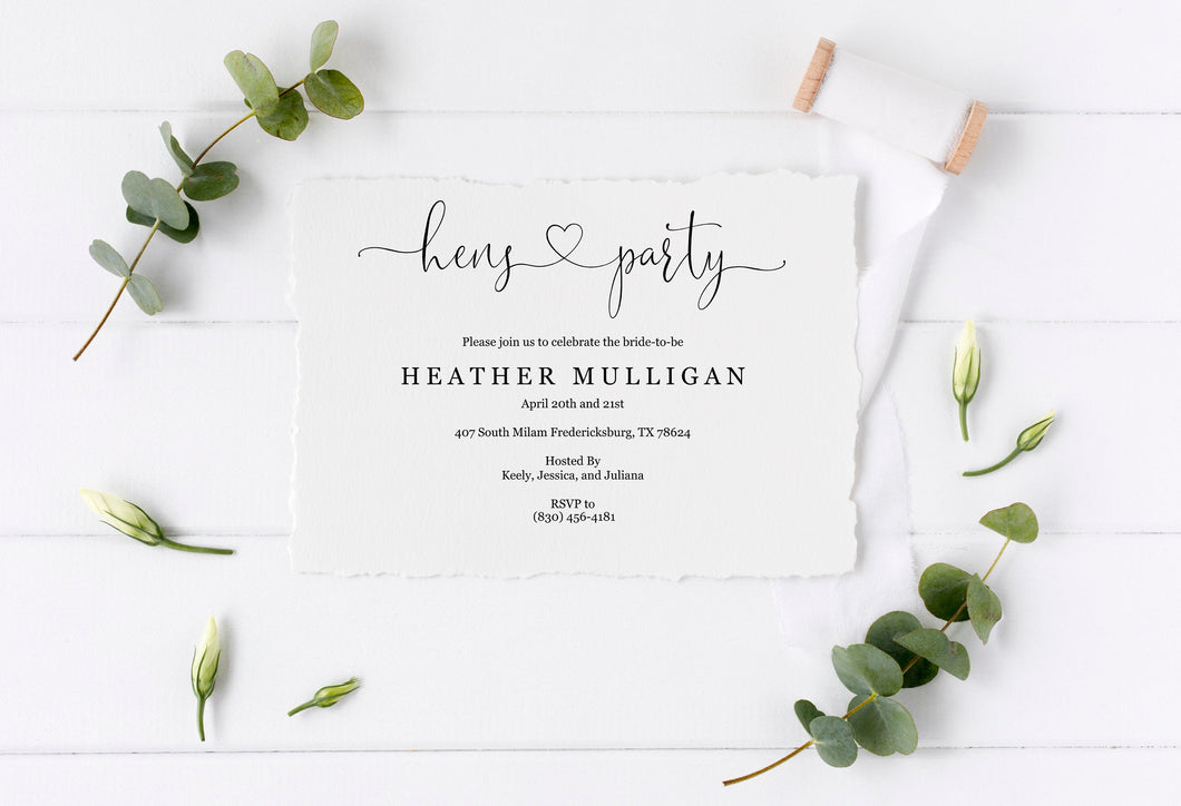 Hens Party Invitation Instant Download Printable Editable Template DIY Bridal Shower Invite - Heather
