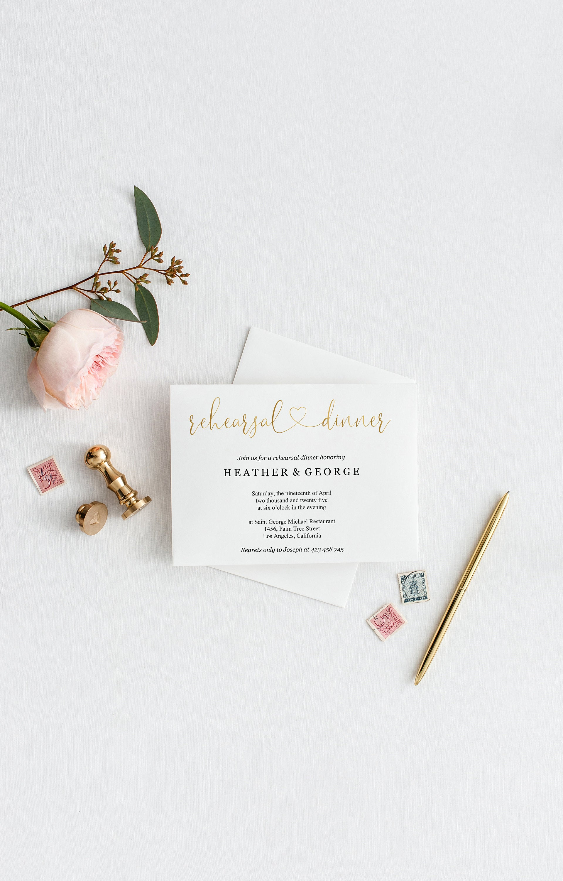 Rehearsal Dinner Invitation Template Printable Wedding Rehearsal Dinner Invitation Gold Wedding Instant Download  - HEATHER