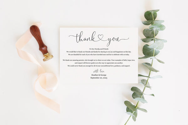 Simple Wedding Thank You Note Instant Download Thank you Cards Printable Thank You Wedding Cards Calligraphy Rustic Heart  - Heather