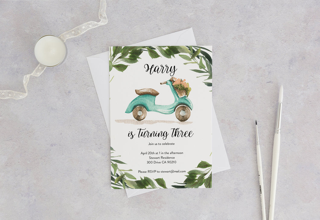Vespa Birthday Invitation Instant Download Greenery Balloons 3rd Birthday Invite Editable Moped #SC2