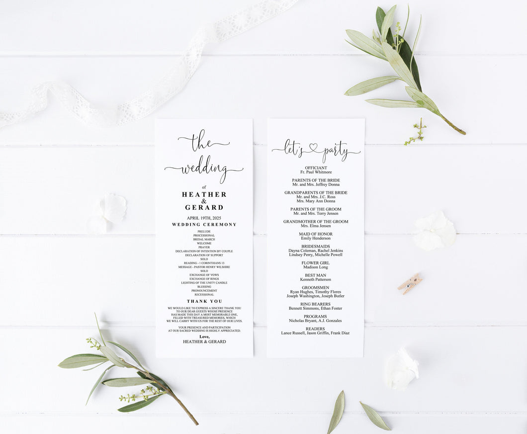 Minimal Wedding Program Template Printable Ceremony Programs Editable Template Instant download - Heather