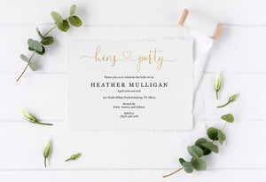 Gold Hens Party Invitation Instant Download Printable Editable Template DIY Bridal Shower Invite - Heather