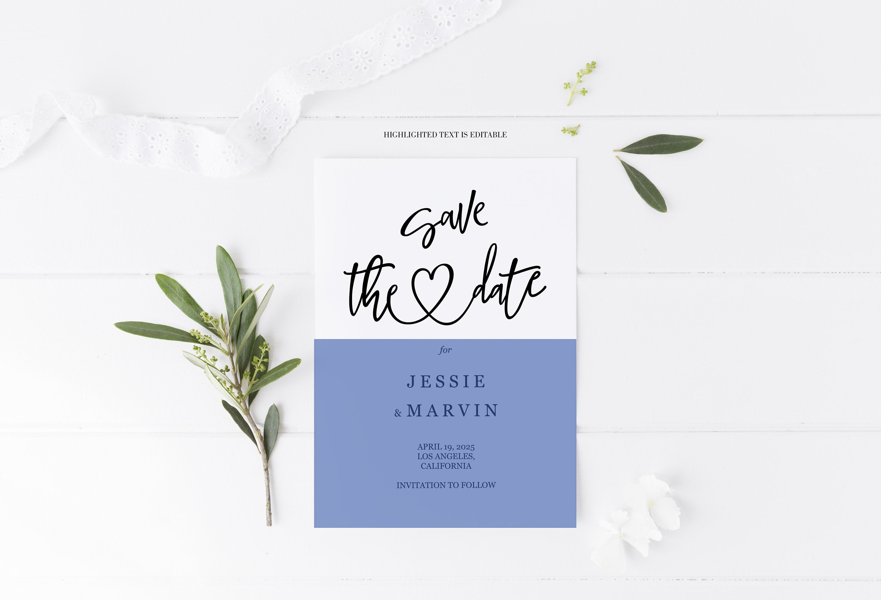 Save the Date Card Instant Download Printable Editable Template Wedding Invite - JESSICA