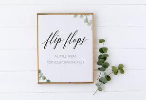 A little treat for your dancing feet, Flip Flops Sign, Dancing Shoes Sign, Dancing Feet, Rustic, Greenery, Instant Download, Wedding Decor