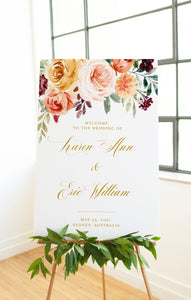 Printable Blush Floral Wedding Welcome Sign Editable Template Instant Download - Karen