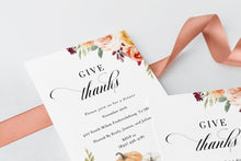 Load image into Gallery viewer, Give Thanks Invitation, Friendsgiving Invitation, Thanksgiving Party, Thanksgiving Invitation Instant Download Pumpkin Invite #KR1