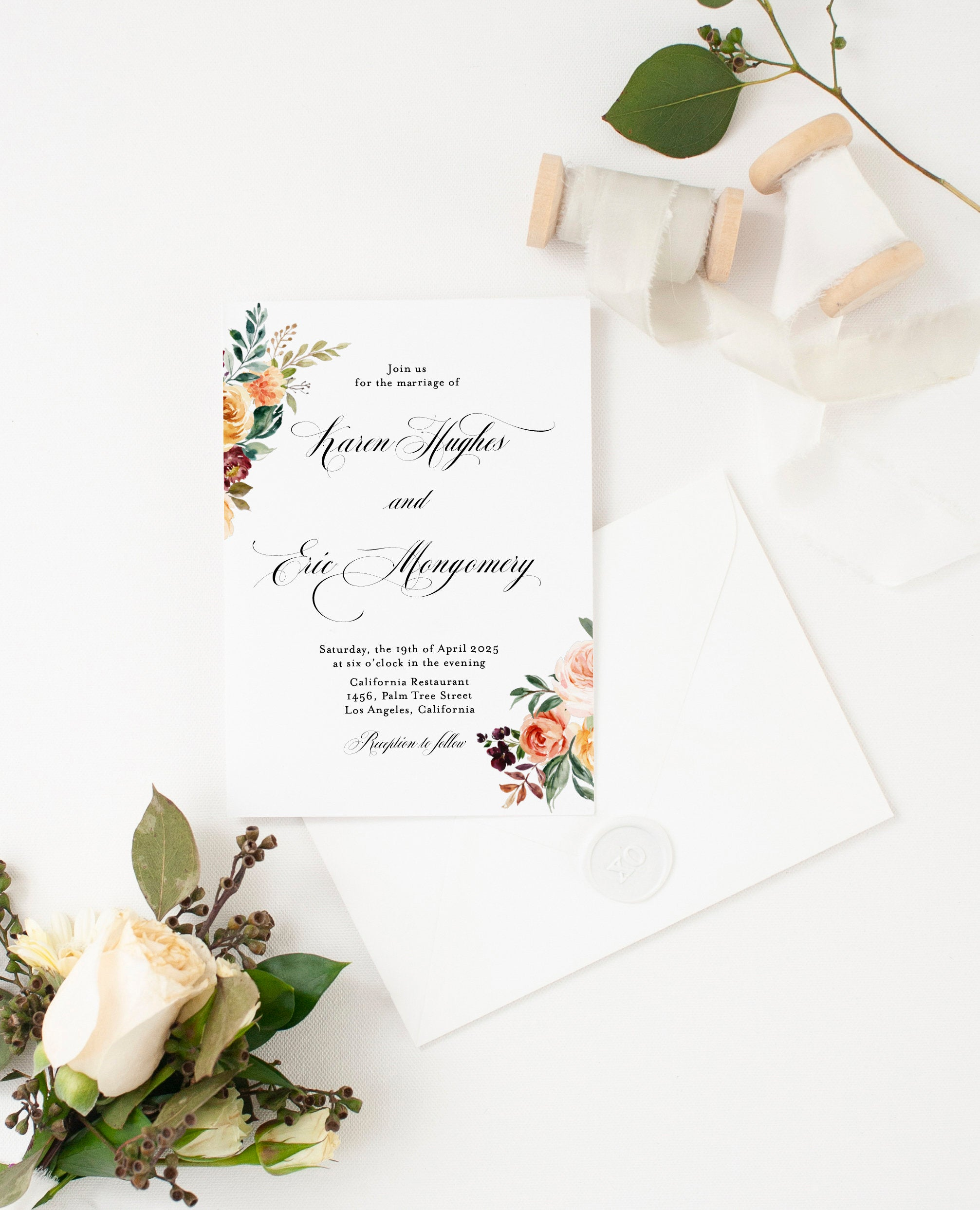 Fall Wedding Invitation Template Instant Download Templett Printable Editable Gold Floral Golden - Karen