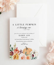 Load image into Gallery viewer, Fall First Birthday Invitation, Pumpkin Birthday Invitation, A little pumpkin 1st 2nd Second Birthday Instant Download #KR1