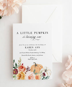 Fall First Birthday Invitation, Pumpkin Birthday Invitation, A little pumpkin 1st 2nd Second Birthday Instant Download #KR1