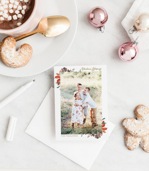 Photo Christmas Card Template, Christmas Snowflakes Card Template, Holiday Card Template - SELENA