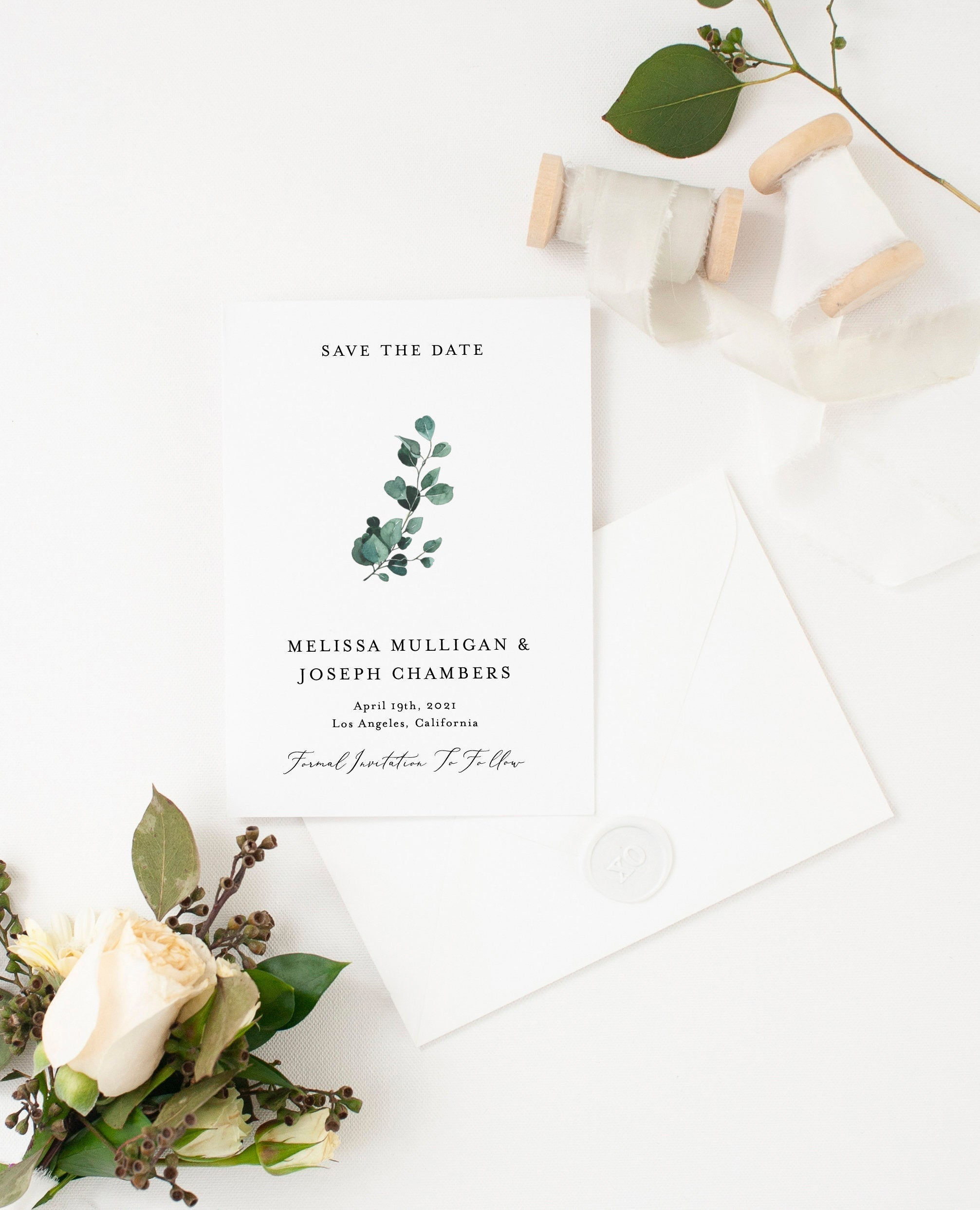 Printable Save-the-Date Template, Engagement Invite, 100% editable text, Greenery Wedding Templett  - Aisha