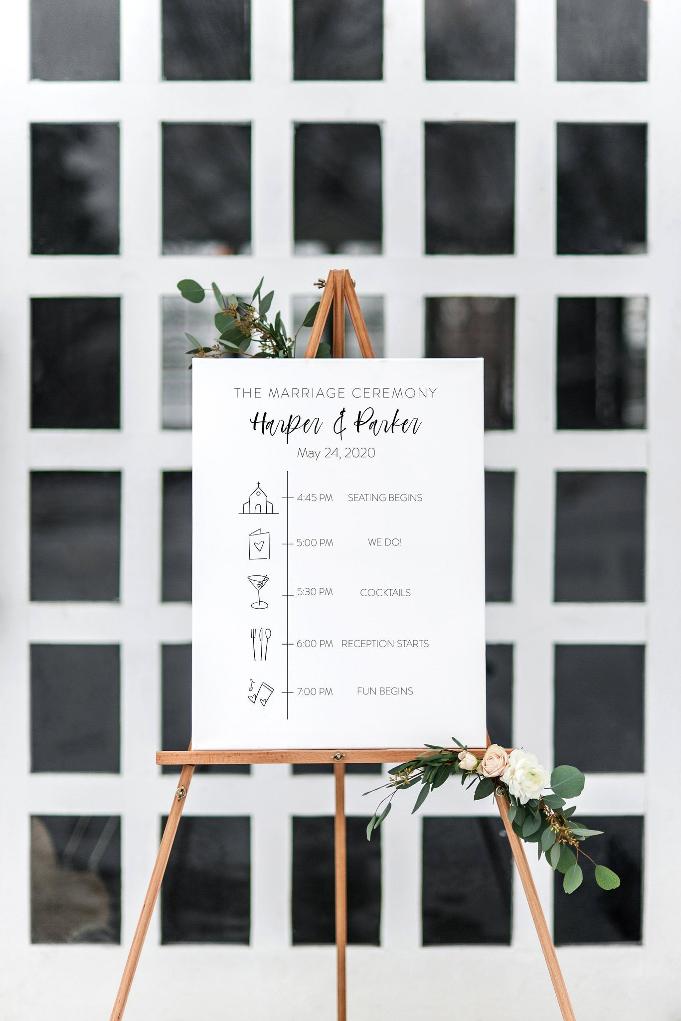 Order of Events Sign Template Minimalist Wedding Itinerary Sign Simple Timeline Sign Printable  - Eileen