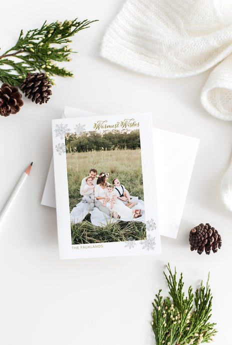 Christmas Snowflakes Card Template, christmas card templates for photographers - SELENA