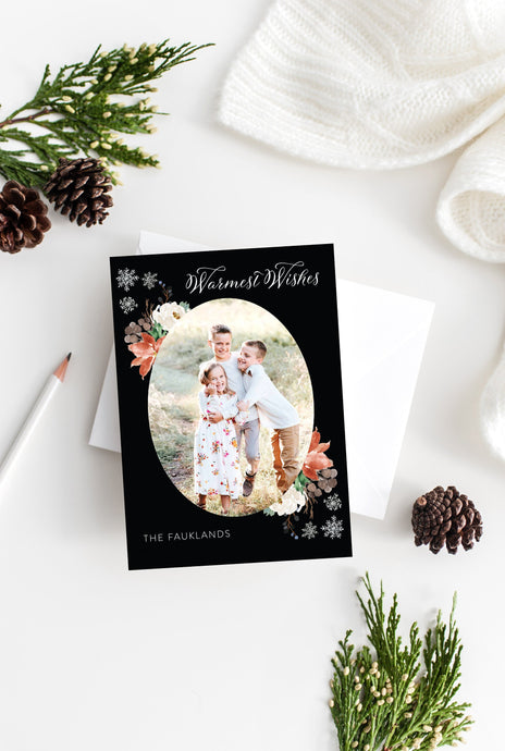 Photo Christmas Card Template, Christmas Snowflakes Card, christmas card templates for photographers - SELENA