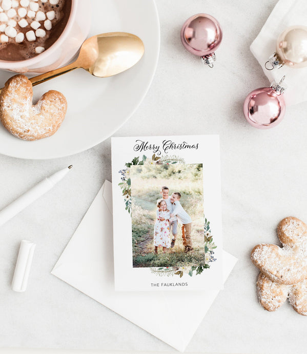 Photo Christmas Card Template, Christmas Snowflakes Card Template, christmas card templates for photographers - SELENA
