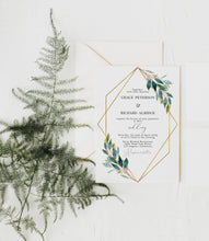 Load image into Gallery viewer, Greenery Wedding Invitation, Elegant Wedding Invite, Printed Wedding Invitation Set, Gold Wedding