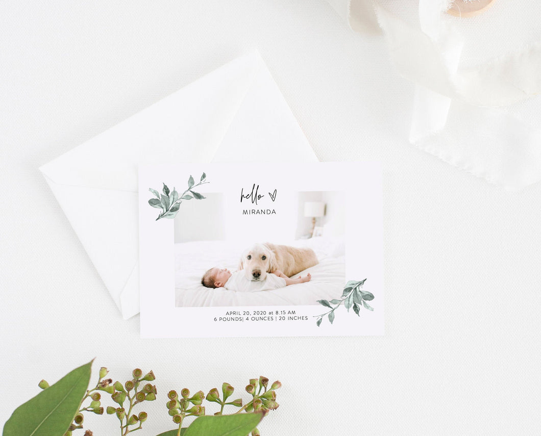 Announcement Printed Unisex Announcement Cards Newborn Announcements