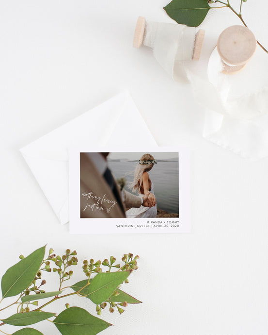 Nothing Fancy Just Love Elopement Template with Photo, Elopement Cards, Greenery, Photography, Instant Download - MIRA