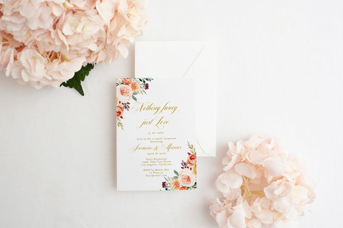 Fall Elopement Wedding Invitation Template Editable Printable Wedding Announcement Nothing fancy just love 100% editable  - Karen