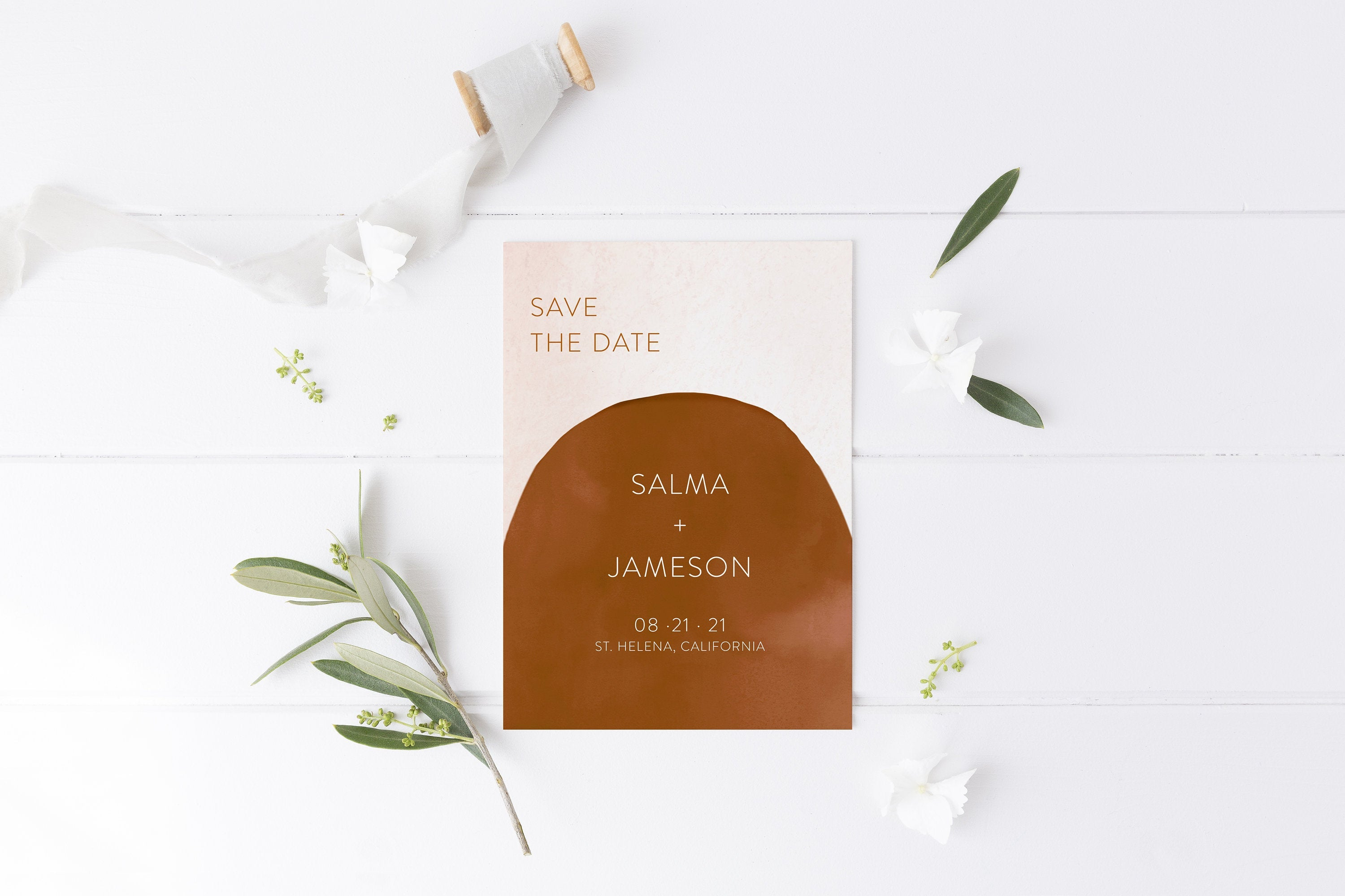 Printable Abstract Save-the-Date Template, Engagement Invite, 100% editable text Modern Wedding Templett  - Salma