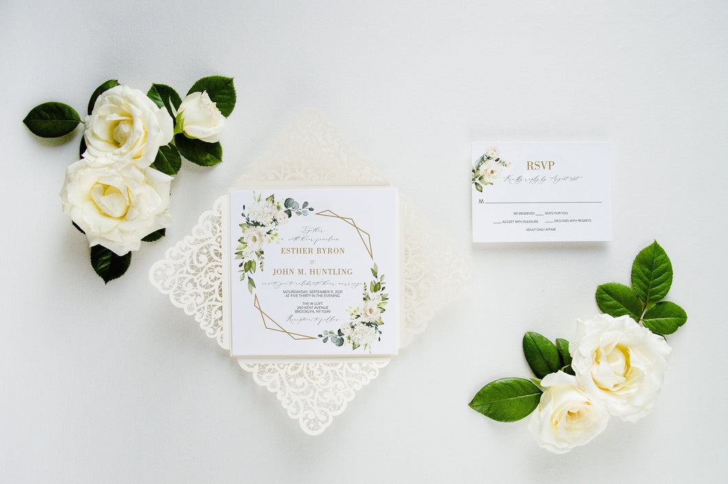 Ivory Wedding Invitation Set, laser cut greenery gold elegant wedding invitation #GLC2