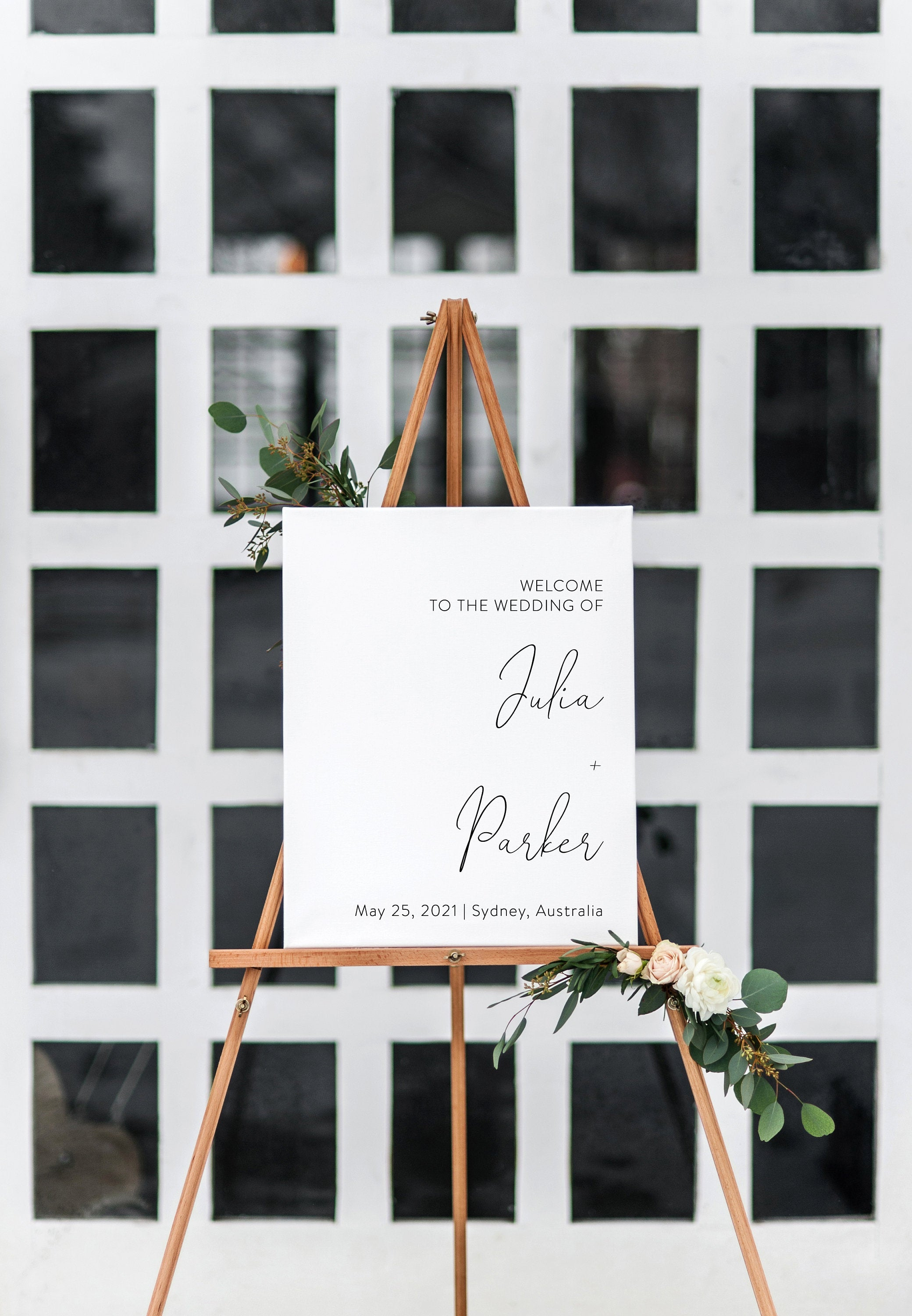 Printable Wedding Dinner Sign, Editable Template, Instant Download, Minimalist Welcome to Rehearsal Dinner Sign- Julia